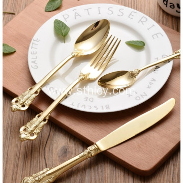Durable Food Grade Gold Stainless Steel Flatware Set